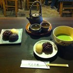Mochi with red bean paste and green tea