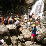 at the waterfall on a hot day - can get busy