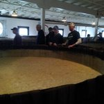Fermentation done in vats made from wood.  Yes tour folks are encouraged to dip their finger & t