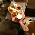 The first, moderate (small) cheese board. This was yum.