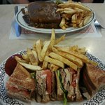 Club sandwich and fries, Hot Turkey sandwich and fries