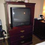 TV and storage drawers.