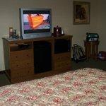 Flat screen TV w/ Cable, microwave, mini fridge.
