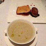 pan seared foie grass and artichoke soup