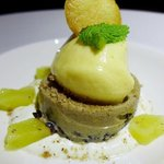 Black rice custard pudding with mango sherbet and pickled pineapple with whipping cream
