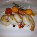 Seared prawns