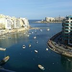 View over Spinola Bay from our bedroom balcony.