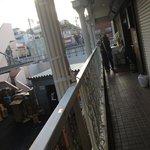 Narrow balcony looking back to the station