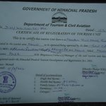 Registration Certificate By The tourism Dept. Govt of H.P.