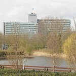 A view of the Novotel from Amsterdam Bos across the road