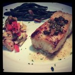Pan Seared Halibut with a white wine, butter, and caper sauce with an artichoke salad