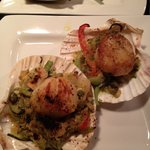 Scallop gratain with red pepper, zucchini, eggplant, onions, capers and green olives