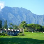 View across the golf course to the Westin Villas and the Na Pali mountains behind