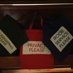 Bags placed on your door tell your butler what you desire