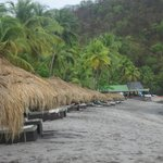 Tiki cabanas on Anse Chastanet Beach