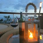 Wine on the Celestial Terrace at sunset