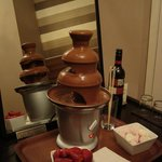 Chocolate fountain in the room