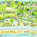 Water color map of Cottage Place on Squam Lake