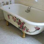 painted design on bathtub