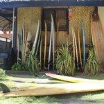 Surfboards for rent inside the inn.