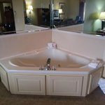 Hot tub in the room is too small for two.