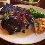 ribs with scallop potatoe and brocollo