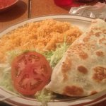 my yummy quesadilla and the sides it came wit
