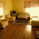 Cottage living room, wooden floors
