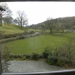 The view out of the window of room 1 on a wet April day.