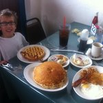Getting ready to chow down...  Yes, there are two pancakes and they are that big!