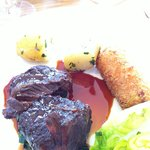 Ox Cheek with Corned Beef Hash Croquette