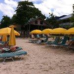 Beach area and restaurant