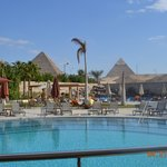 View on the pool and the pyramids