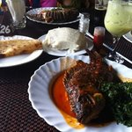 delicious fish, ugali, chapati, and juices!