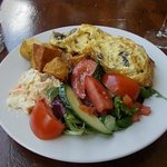 mushrooms Omelette salad saute potatoes salad with extra tomato. Scrumptious x