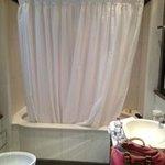 Huge soaking tub with rain shower