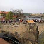 view of the Charles Bridge from our room