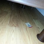 Hair balls, dust and card? under the bed