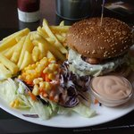 Swiss burger, fries, salad