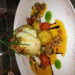 Herb Roast Chicken, Sautéed potatoes, Chorizo,tomato & Caper Salsa