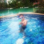 lil man practising to snorkel in pool1, ready for Phi Phi Island tour