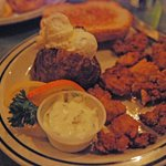 Fried oysters and baked potato