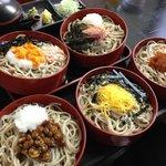 Five dish soba unstacked