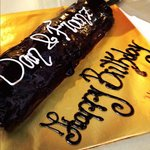 1 meter chocolate cake with greetings from staff