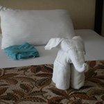 Letto rifatto e simpatico elefantino con asciugamano