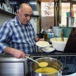 Serving up hummus at Lina