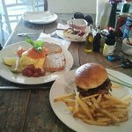 Salmon and Scrambled Eggs & a Great Old Fashioned Burger