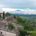 Looking south towards Monte Amiata from the ramparts up from our apartment