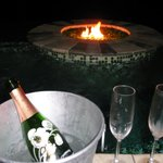 Champagne by the fire pit!