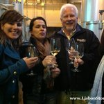 Our guide Catia, Silvia, Steve and Karen enjoying a wine tasting, directly from the vats!